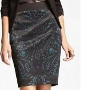 Green black lace print pencil skirt